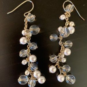 Pearl and Clear Drop Earrings